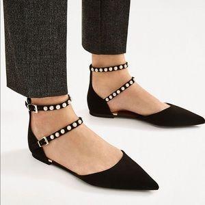 NWOT Never Worn Zara Black Suede D'Orsay w/ Pearls